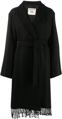 Semi-Couture Fringe Hem Coat