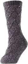 Me Moi Memoi Legwear Pearl Lattice Plush -Lined Slipper Socks