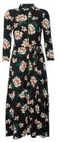Dorothy Perkins Womens Black Floral Print Shirt Dress, Black