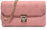 MCM Medium Pink Blush Millie Monogrammed Leather Flap Crossbody Bag