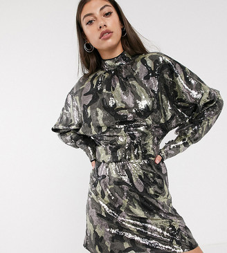 Asos DESIGN Tall mini dress in camo sequin in slouchy fit with belt