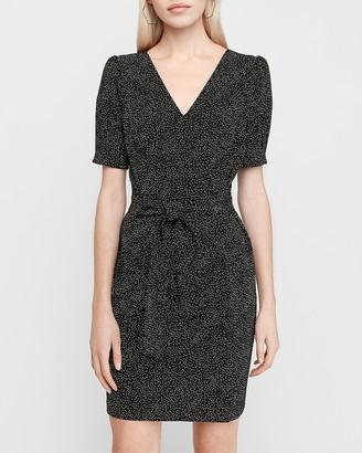 Express Printed Puff Sleeve Sheath Dress