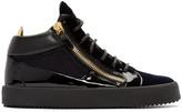 Giuseppe Zanotti Navy Velvet London High-Top Sneakers