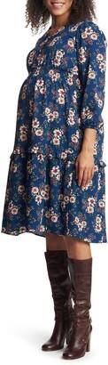 Everly Grey Jenny Floral Long Sleeve Maternity/Nursing Dress