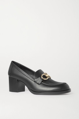 Salvatore Ferragamo Rolo Embellished Leather Loafers - Black
