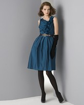 Women's Floral-Trim Belted Taffeta Dress
