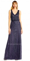 Adrianna Papell Empire Sequin Beaded Blouson Evening Dress