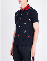 Gucci Embroidered-motif Cotton-piqué Polo Shirt