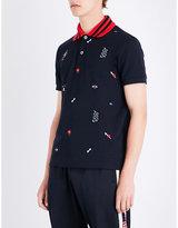 Gucci Embroidered-motif cotton-piqué polo shirt
