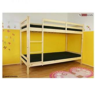 Camilla And Marc HOMESTYLE4U High Sleeper Solid Pine Children Bed, Wood, Natural, 97 x 207 x 150 cm