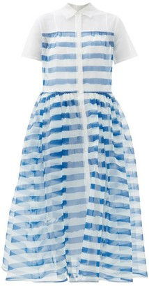 STAUD Guilia Striped Organza-overlay Shirt Dress - Blue White