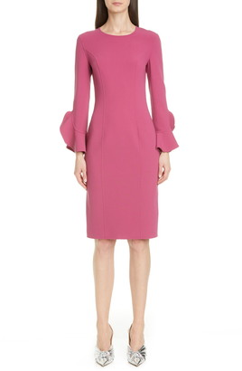 Michael Kors Collection Ruffle Cuff Stretch Wool Crepe Dress