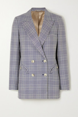 BLAZÉ MILANO Everyday Double-breasted Prince Of Wales Checked Wool Blazer - Navy
