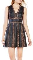 BCBGMAXAZRIA Women's Val Faux Leather & Lace Dress