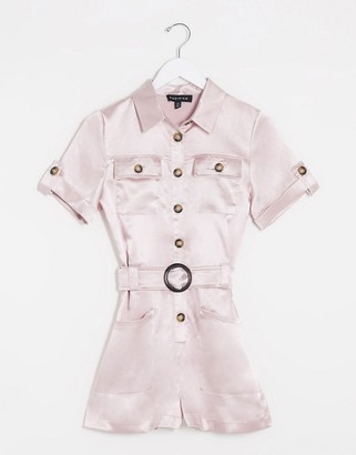 Parisian satin utility playsuit in pink