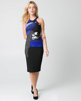 Le Château Abstract Print Knit Crepe Shift Dress