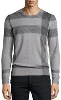 Burberry Abstract Check Merino Wool Sweater, Light Gray Melange