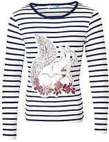John Lewis Girls' Squirrel Stripe T-Shirt, Cream