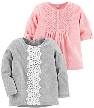 Carter's Simple Joys by Baby Girls' Toddler 2-Pack Long Sleeve Tops