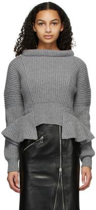 Alexander McQueen Grey Rib Knit Peplum Sweater
