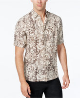 Tasso Elba Men's Silk Linen Leaf-Print Short-Sleeve Classic-Fit Shirt, Only at Macy's