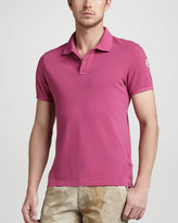 Moncler Seam Washed Pique Polo, Pink