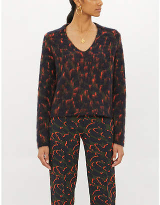 Zadig & Voltaire ZADIG&VOLTAIRE River abstract-print V-neck knitted jumper