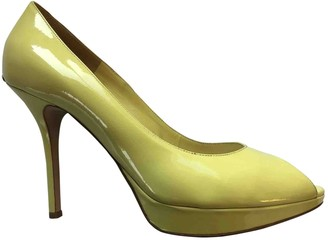 Christian Dior Miss Peep Toes Yellow Patent leather Heels