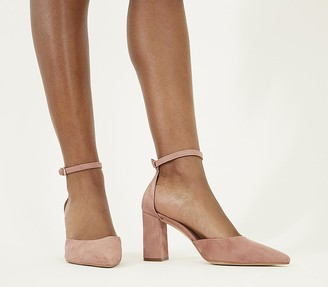 Office Minnie Ankle Strap Court Heels Dusty Pink Suede