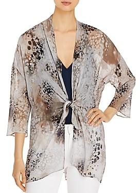 Go Silk Go by Tie-Front Printed Silk Kimono