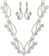 ACCESSORIESFOREVER Bridal Wedding Prom Jewelry Set Necklace Crystal Rhinestone Curly Design Silver