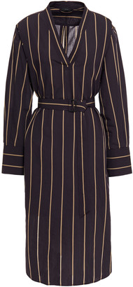 Joseph Belted Pinstriped Cotton And Silk-blend Midi Dress