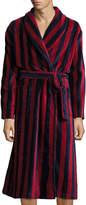 Derek Rose Striped Velour Robe, Navy/Burgundy