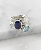 Ys Gems YS Gems Women's Rings Multi - Cultured Pearl & Corundum Sapphire Cluster Ring