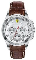 Ferrari Scuderia Chronograph Silver Dial Brown Leather Mens Watch 830044