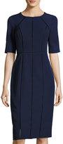 Maggy London Dream Crepe Ladder-Stitch Sheath Dress, Dark Blue