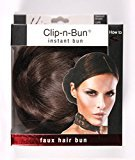 "Mia Clip-n-Bun-Instant Bun That Clips On! Made of Synthetic/Faux Wig Hair-Medium Brown Color-Measures 5"" Diameter x 2.5"" Deep (1 piece per package)"