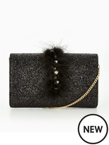 Very Feather & Jewel Party Clutch