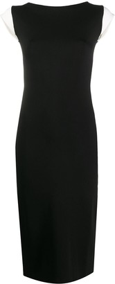 Escada Contrast-Sleeve Fitted Dress