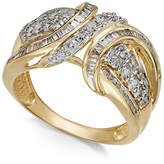Macy's Diamond Swoop Band (1 ct. t.w.) in 14k Yellow or White Gold