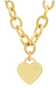 STEELTIME Ladies Stainless Steel 18K Micron Gold Plated Heart Charm Necklace
