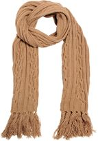 Lardini Camel Wool Cable-Knit Scarf