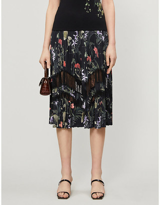Ted Baker Highland crepe and lace midi skirt