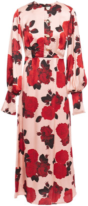 Mother of Pearl Jenna Floral-print Satin Midi Dress