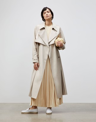 Lafayette 148 New York Blake Trench Coat In Sculpted Pleating Cloth