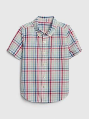 Gap Toddler Plaid Poplin Short Sleeve Shirt