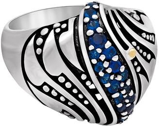 Devata Sterling Silver Bali Filigree Blue CZ Dome Ring