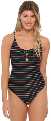 So Rainbow-Striped Double Bow One-Piece Swimsuit