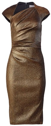 Theia Ruched Metallic Cap-Sleeve Sheath