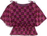 Anna Sui Printed Silk-georgette Blouse - Burgundy